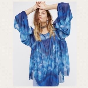 Free People Draped Watercolor Open Sleeve Tunic